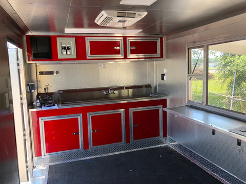 Inside Porch Trailer Cabinet and Sinks Pizza Oven