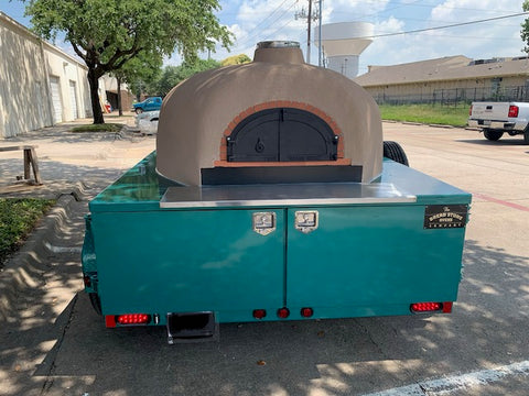 Mobile Wood Fired Pizza Oven Napa Trailer Teal Green Moon Stone Stucco