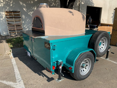 Mobile Pizza Oven Facing Back Trailer Napa Teal Green