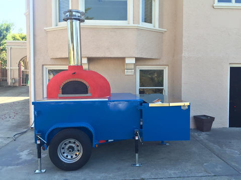 Pizza Oven Blue Trailer