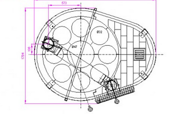 1400 Oven with Rotating Pizza Stones Diagram