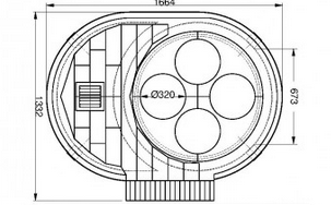 Diagram of Oven with Rotating Pizza Stones