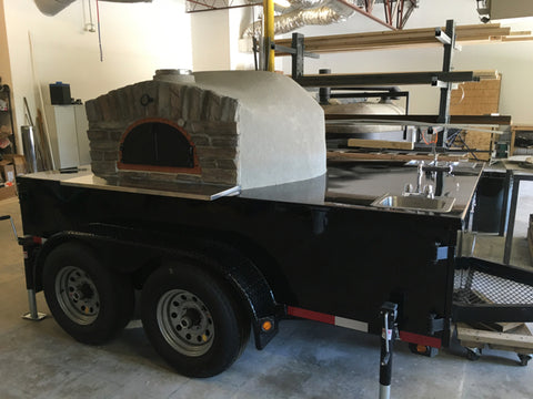 """Tandem Axles Black Trailer 48"""" Oven with sinks"""