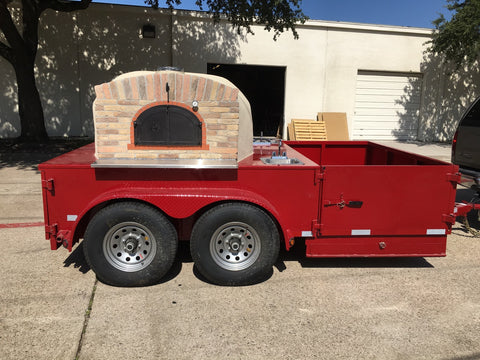 American Red Texas Pro Trailer Wood Fired Pizza Oven