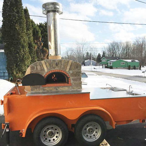 Pizza Oven trailer with sinks