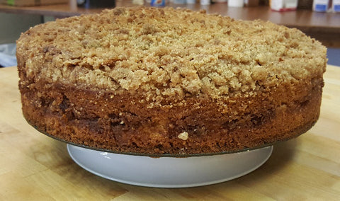 coffee cake on a cake stand