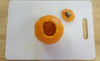 empty mini pumpkin and cutting board