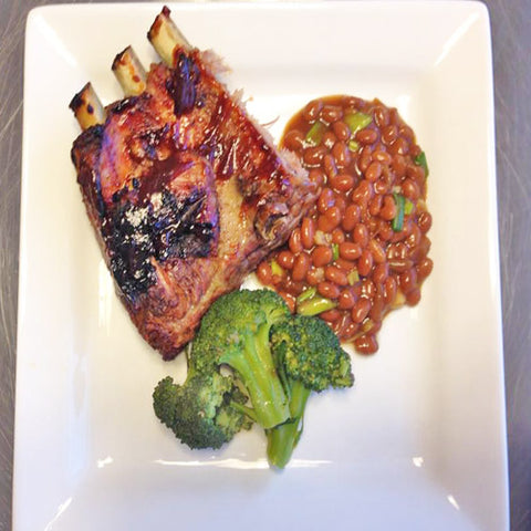 Baby Back Ribs with Broccoli and Baked Beans