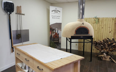 kitchen work space and wood fired oven