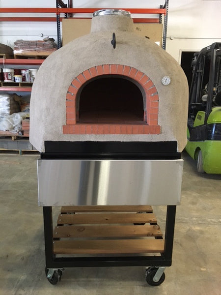 Finished Pizza Oven on Cart with Stucco Finish