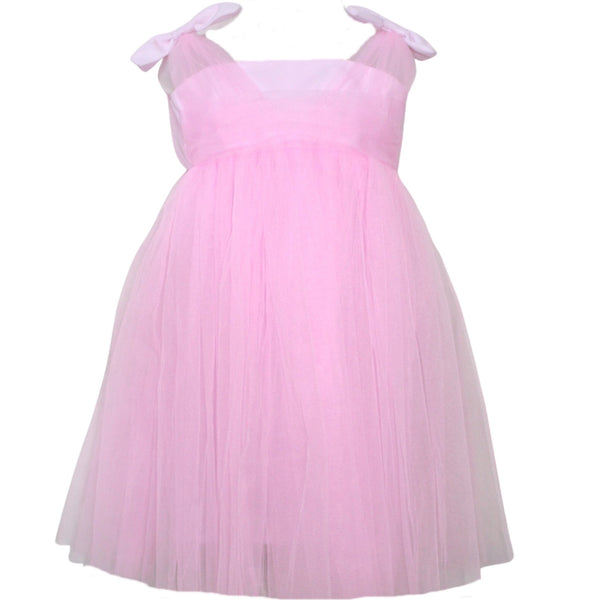 Pink Shoulder Bow Dress , Girls Party Wear