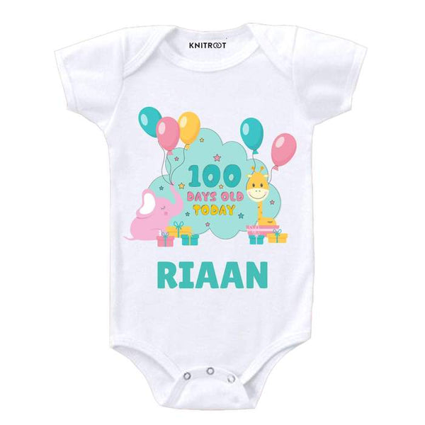 Knitroot 100 Days Personalized Onesie 6-12 Months White