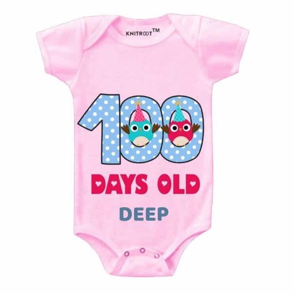 Knitroot 100 Days personalised Baby Cloth 6-12 Months Pink