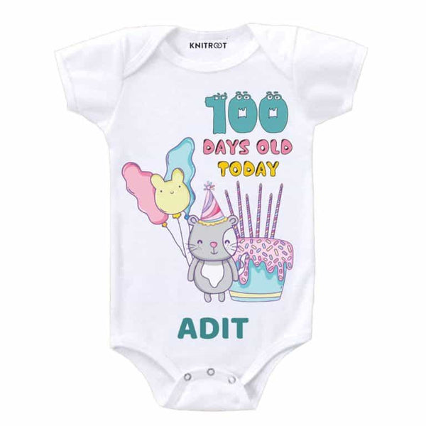 New Baby Personalized Romper 100 days old Today-19 | Personalised Baby Onesie