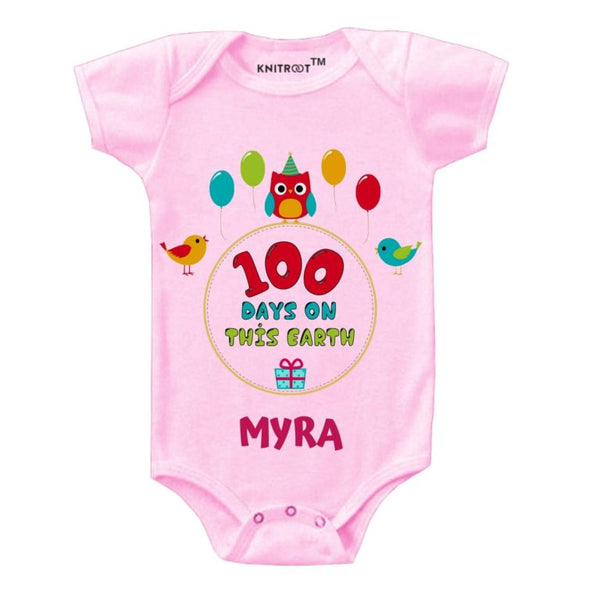 Knitroot 100 Days Baby Bodysuit 0-6 Months Pink