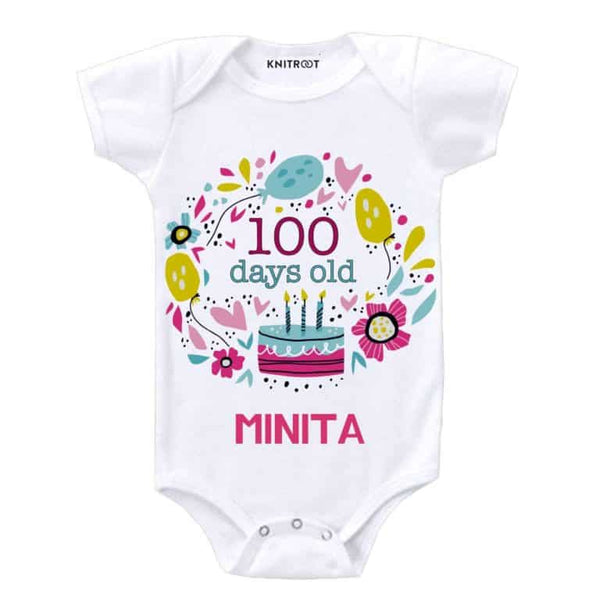 Knitroot 100 Days Personalized Bodysuit 6-12 Months White