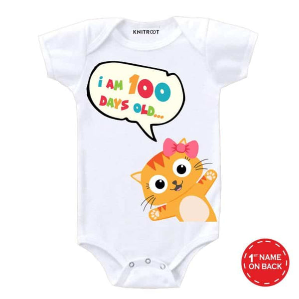 I am 100 days Old Baby Romper-16 - Personalised Baby Onesie