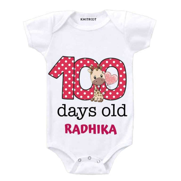 Knitroot 100 days Personalised baby bodysuit 6-9 Months White