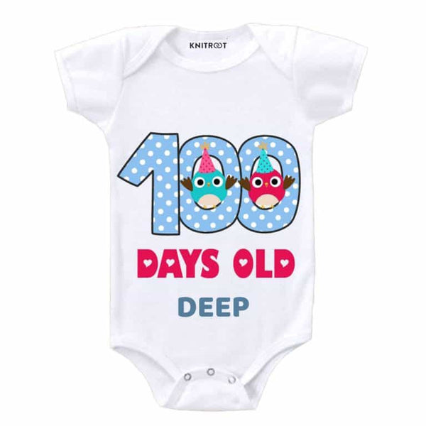 Knitroot 100 Days Personalized Baby Cloth 0-6 Months White