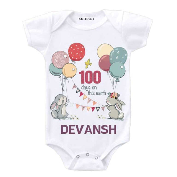 Knitroot 100 Days Personalised Baby Romper 6-12 Months White