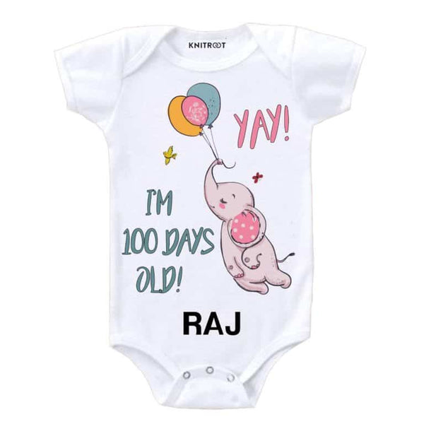 Knitroot 100 days Personalised Baby Onesie 6-12 Months White