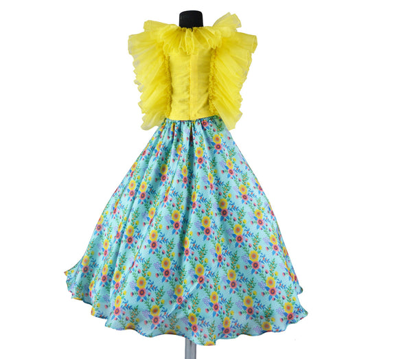 Blue Flower Print Skirt and Yellow Frill Top | Girls Indian Wear