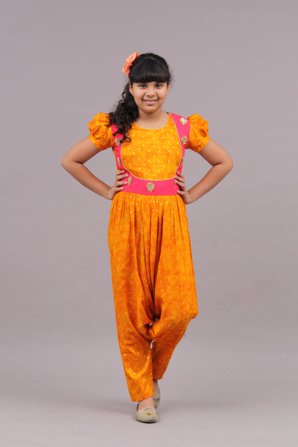Mustard Low Crotch Indian JumpSuit | Girls Indian Wear