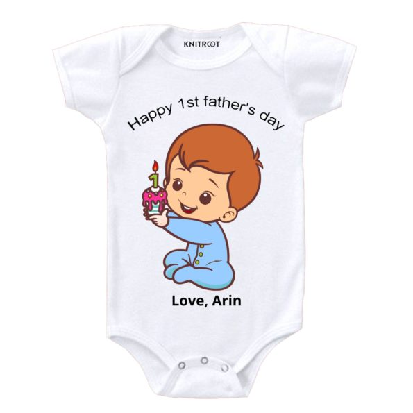 Knitroot Happy Father Day gift Onesie 6-12 Months White