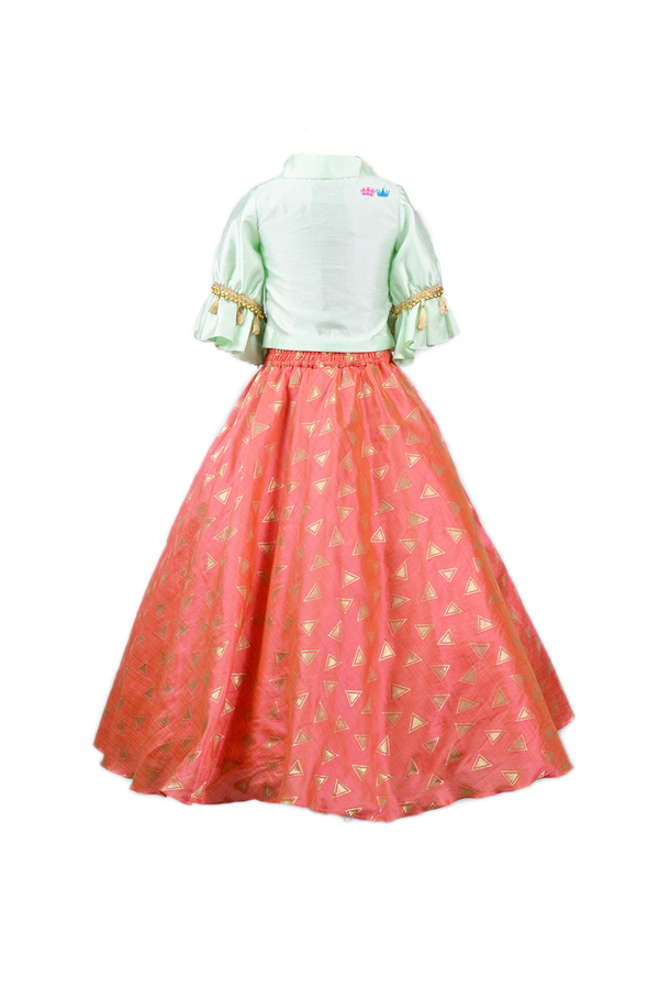 Triangle brocade skirt and top | Girls Party Wear