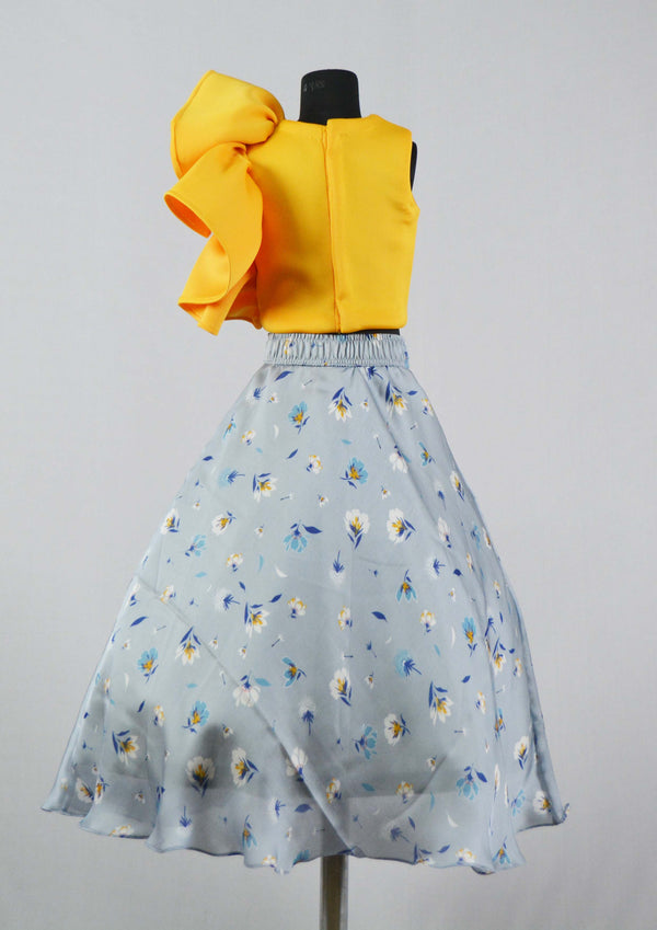 Yellow Top & Blue Printed Skirt themumsshop