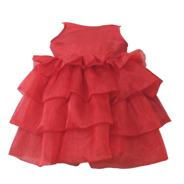 Red Layered Dress , Girls Party Wear