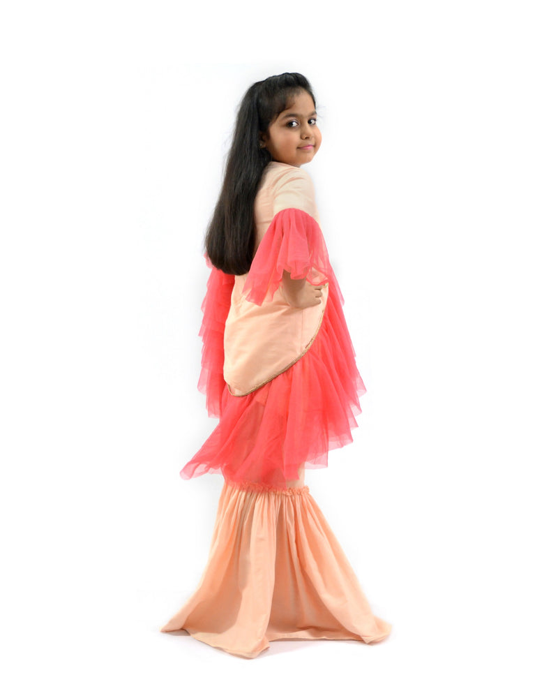 Peach Sharara set with Frill Dupatta themumsshop