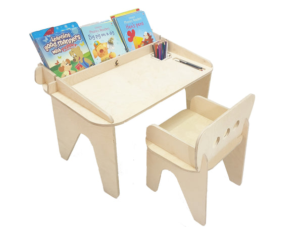 CuddlyCoo Children's Table Chair/Study Table - Wood | Furnishings