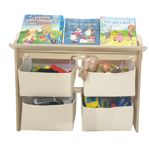 CuddlyCoo Toy Organiser with Book Shelf/Book Rack/Toy Basket - Beige | Furnishings