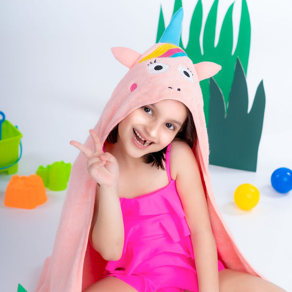 Super Soft Zero Twist Hooded Bath Towel - Unicorn | Towels & Wrappers