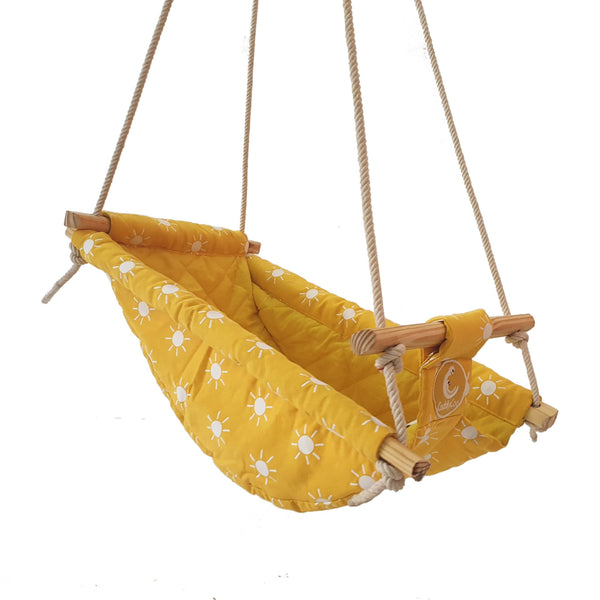 CuddlyCoo Baby Swing and Rocker - Mustard