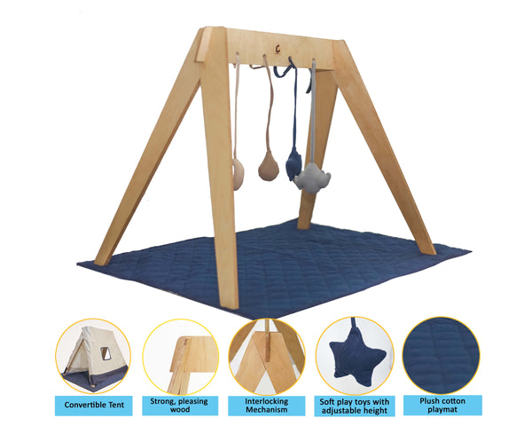 Wooden PlayGym Convertible Baby Tent with playmat - Play Gym