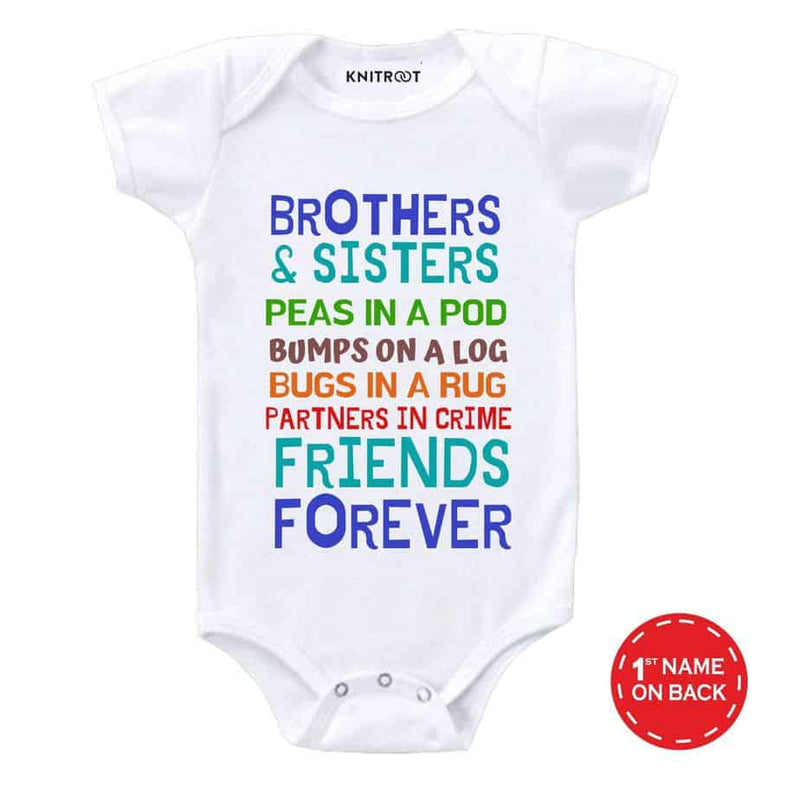 Brothers & Sisters Friends Forever | Personalised Baby Onesie