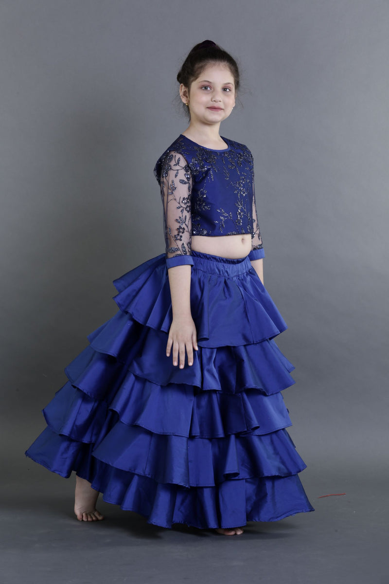Blue Ruffled lehenga Set | Girls Indian Wear