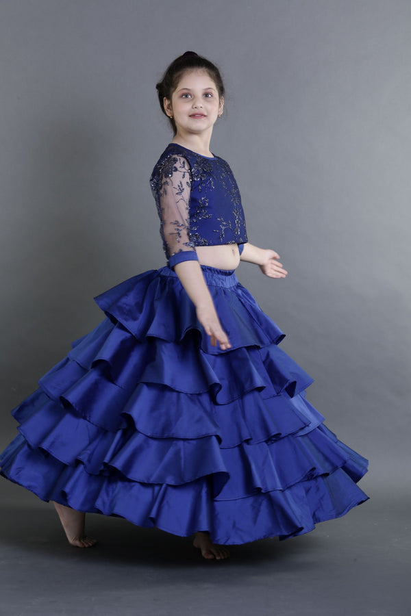 Blue Ruffled lehenga Set- Girls Indian Wear