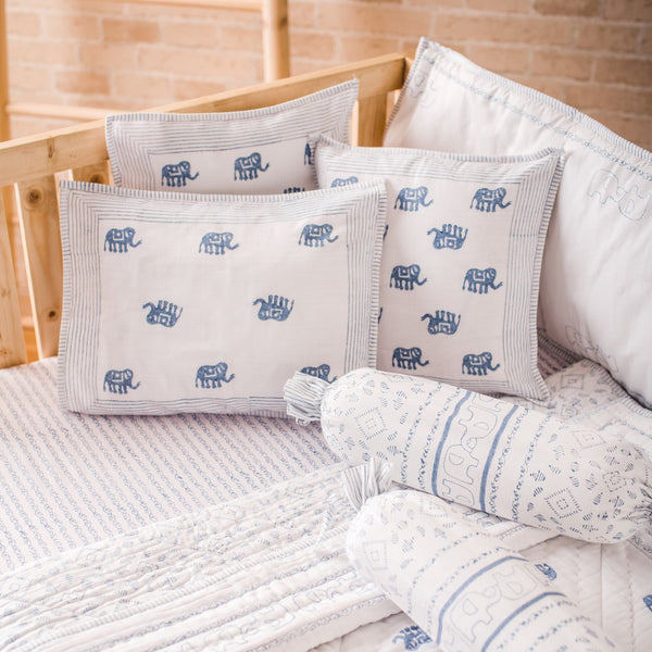 Hand Block Printed Cot Bedding Set- Blue Elephant