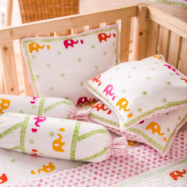 Hand Block Printed Cot Bedding Set - Colourful Elephant