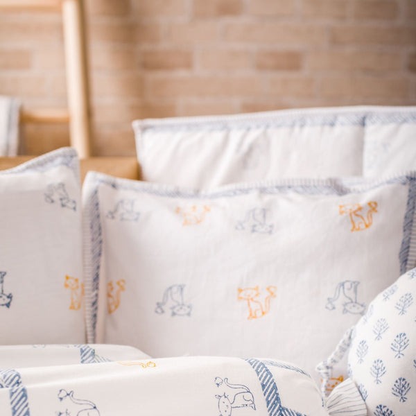 Hand Block Printed Cot Bedding Set - Cat