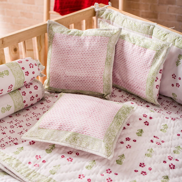 Hand Block Printed Cot Bedding Set - Green FLower