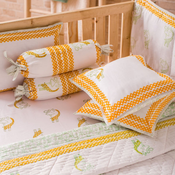 Hand Block Printed Cot Bedding Set - Giraffe