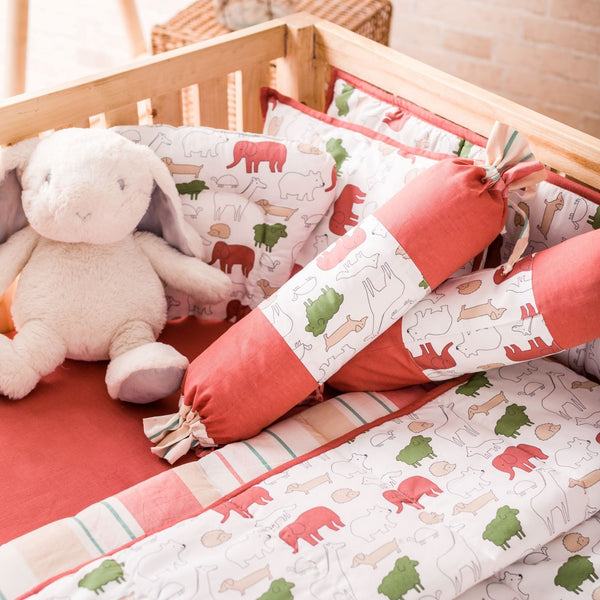 Baby Cot Bedding Set- Red Jumbo