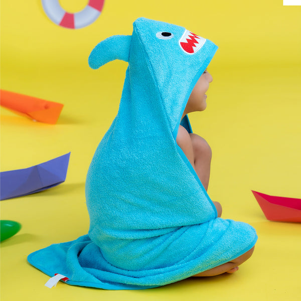 Kids Hooded Towel - Blue Shark | Towels & Wrappers