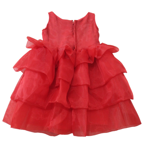 Kids Red Layered Dress - Girls Party Wear