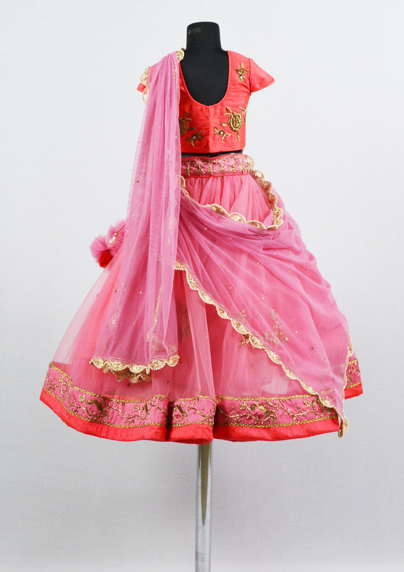 Pink Embroidered Lehenga themumsshop