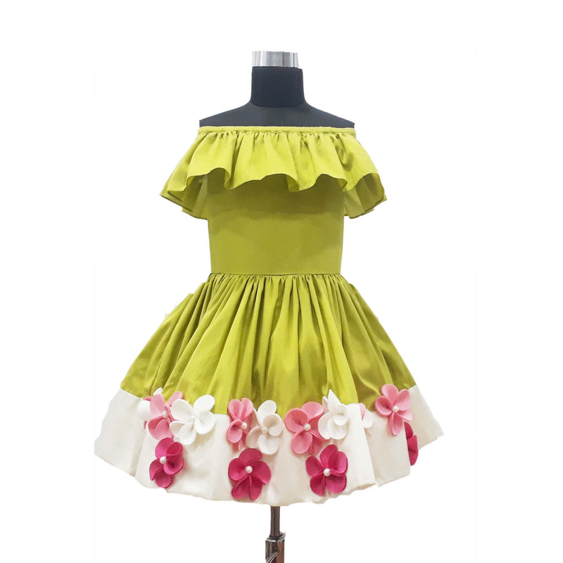 Off shoulder Lime green frock themumsshop